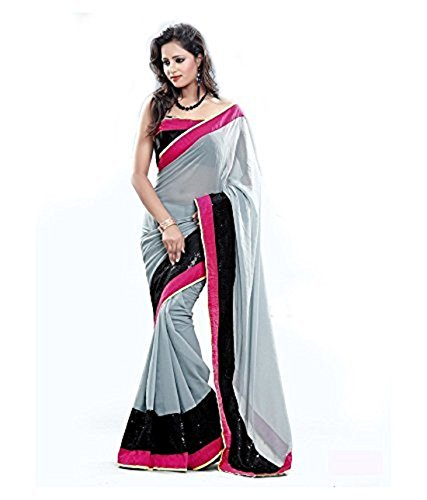 Onlinehub Women's Georgette Saree With Blouse Pieace (Black) MARBLE (GREY)