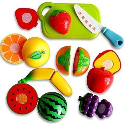 Toyshine Realistic Sliceable 5 Pcs Fruits Cutting Play Toy Set, Can Be Cut in 2 Parts, Assorted