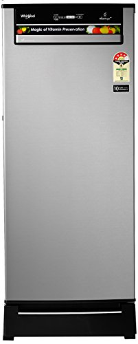 Whirlpool 200L 4 Star Direct Cool Single Door Refrigerator (215 VITAMAGIC PRO ROY 4S, Alpha Steel, Base Stand with Drawer)