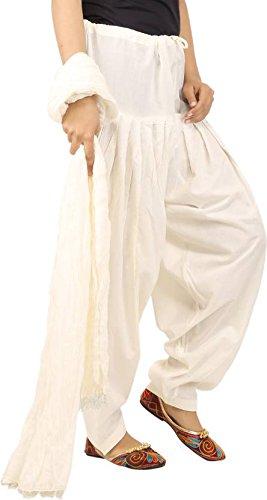 JAIPUR FASHION HUB Women's/Girl's 100% Pure Cotton Solid Readymade Full Patiyala Pant with Matching Dupatta set Combo (Free Size____Off White)