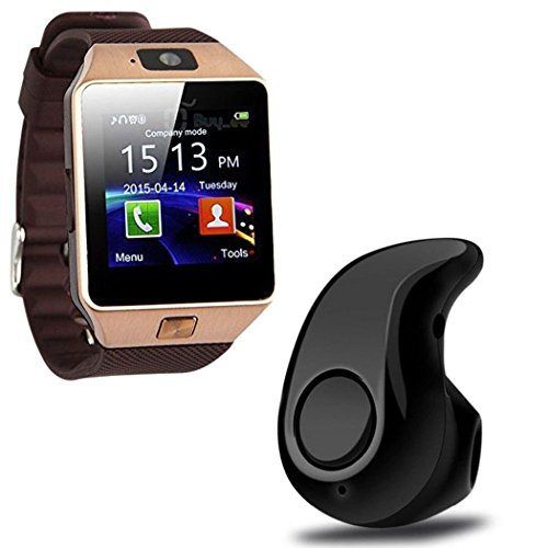 Lambent Bluetooth Smart Watch with Camera & Mini Wireless Bluetooth Headset with Mic for All Smartphone
