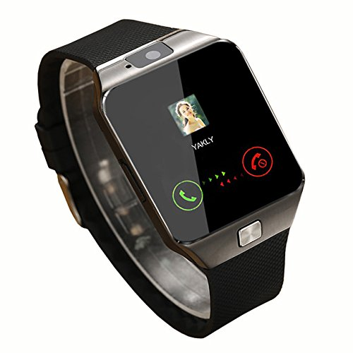 Meckwell Wireless Bluetooth Smartwatch with Camera & SIM Card Support for all Smartphones, Black