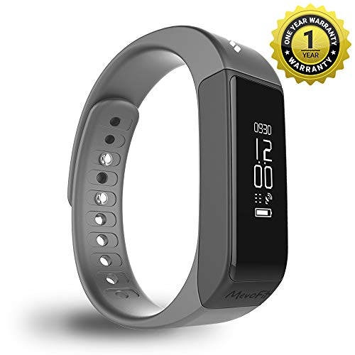 Mevofit Drive – Fitness Band and Activity Tracker Smartwatch with Water and Scratch Proof Touch Display Screen, Medium (Stone – Black)