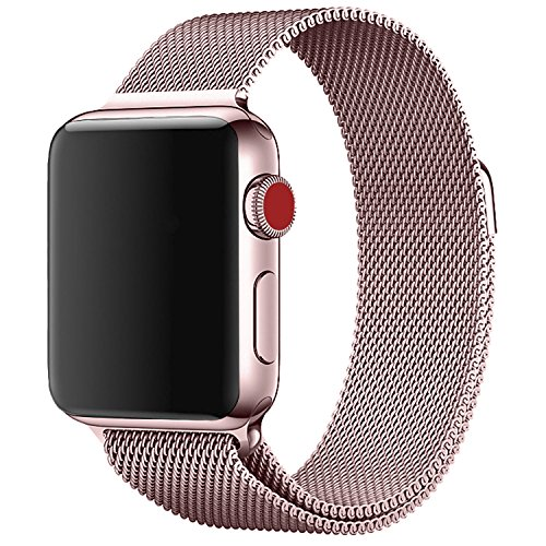 ProElite 42 mm Stainless Steel Milanese Loop Strap with Magnetic Lock Buckle Wrist Band for Apple Watch – Rose Gold [*Watch NOT Included*]